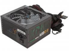 Блок питания Aerocool 650W Retail KCAS-650G ATX v2.4, 80+ Gold, 4+4-Pin, 2x PCI-E (6+2-Pin), 7x SATA, 4x MOLEX, 12см c RGB подсветкой