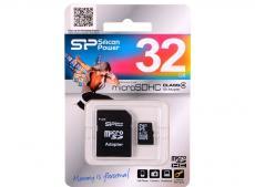 MicroSDHC Silicon Power 32GB Class 4 + Адаптер (SP032GBSTH004V10-SP)