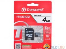 MicroSDHC Transcend  4GB Class10 + Адаптер (TS4GUSDHC10)
