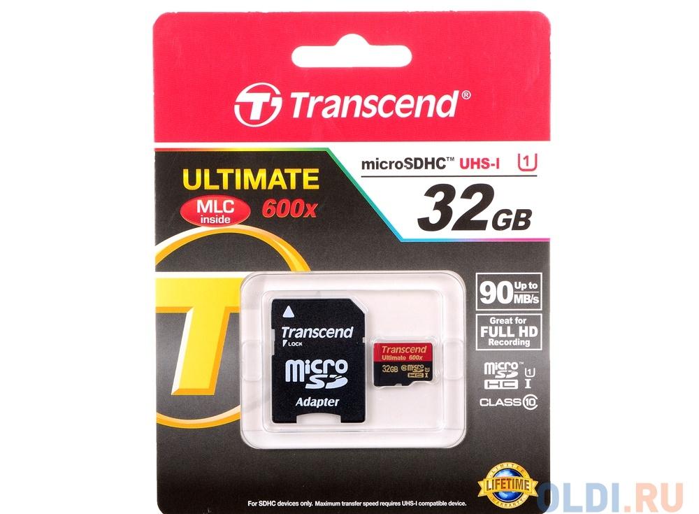 MicroSDHC Transcend 32GB Class10 UHS-I Ultimate + Адаптер (TS32GUSDHC10U1)