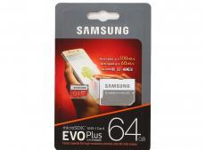 Карта памяти MicroSDXC 64GB Samsung EVO Plus v2 UHS-I U3 + SD Adapter (R100/W60Mb/s) (MB-MC64GA/RU)
