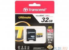 Карта памяти MicroSDHC 32GB Transcend Ultimate с адаптером (TS32GUSDU3M) чтение: 95Мб/с, запись: 60Мб/с