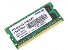 Память SO-DIMM DDR3 4Gb (pc-12800) 1600MHz Patriot (PSD34G16002S)