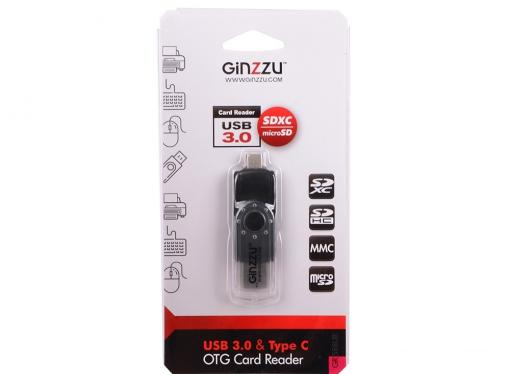 Картридер Ginzzu GR-588UB USB 3.0/Type C  OTG переходник-картридер для компьютеров и смартфонов, поддержка форматов SD/SDXC/SDHC/MMC и microSD/SDXC/SD