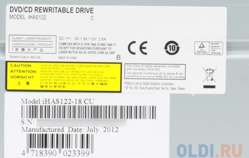 Оптич. накопитель DVD±RW Lite-On iHAS122-18/14 Black <SATA, 22x, OEM>