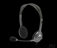 Гарнитура Logitech Headset H111 Проводные / Накладные с микрофоном / Серый / 20 Гц - 20 кГц / 100 дБ / Одностороннее / Mini-jack / 3.5 мм