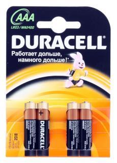 батарейки duracell  lr03-4bl basic (40/120/21120)  блистер 4 шт  (aaa)