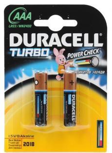 Батарейки DURACELL  LR03-2BL TURBO (20/60/10800)  Блистер 2 шт   (AAA)