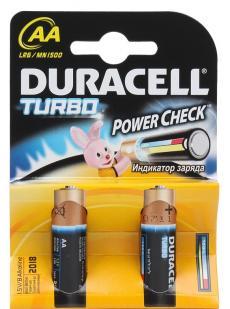 Батарейки DURACELL  LR6-2BL TURBO Max (40/120/10200)  Блистер 2 шт   (AA)