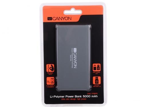 Внешний аккумулятор Canyon CNS-TPBP5DG 5000мАч серый