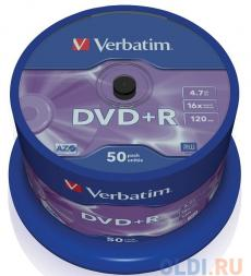 DVD+R Verbatim 4.7Gb 16x 50шт Cake Box