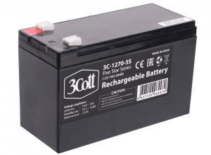 аккумулятор для ибп 3cott 3c-1270-5s, 12 в, 7 ач 5 star series