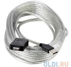 Кабель удлинитель активный(с усилителем) USB2.0-repeater,  AM/AF 10м Aopen(ACU823-10M)