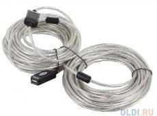 Кабель удлинитель активный(с усилителем) USB2.0-repeater, AM/AF 20м VCOM [VUS7049]