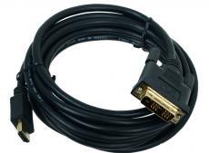 Кабель HDMI - DVI-D 19M/19M 3м Gembird Single Link, черный, позол.разъемы, экран, пакет