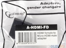 Кабель microHDMI/HDMI Gembird A-HDMI-FD, 19F/19M, золотые разъемы, пакет