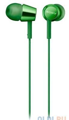 Наушники SONY EX155 вкладыши, цвет зеленый