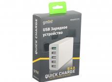 Зарядное устроиство USB от сети питания 220В Gmini GM-WC-005QC, с 4 USB портами Smart Charge и 1 USB QC3.0 порт, 5В9.4А, белый