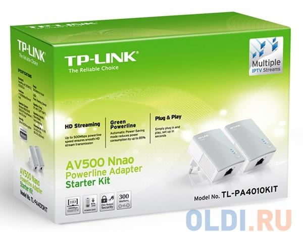 Адаптер TP-LINK TL-PA4010KIT AV500 Nano Powerline Ethernet Adapter, Ultra Compact Size, 500Mbps Powerline Datarate,  10/100Mbps Fast Ethernet