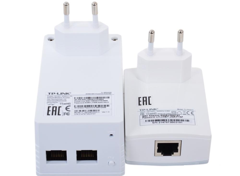 Адаптер TP-LINK TL-WPA4220KIT 300Mbps Wireless AV500 Powerline Extender, 500Mbps Powerline Datarate, 2 10/100Mbps Fast Ethernet ports, HomePlug AV, Plug and Play, WiFi Clone, Single Pack