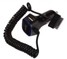Автомобильное зарядное устройство с кабелем для Galaxy Tab 30pin GINZZU GA-4315UB АЗУ 5В/3.0A, 2xUSB, черный