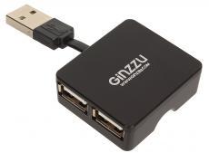 Концентратор USB 2.0 Ginzzu, 4 порта, черный (GR-414UB)