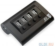USB-концентратор Jet.A JA-UH14 на 4 порта USB 2.0, с выключателями портов, чёрный