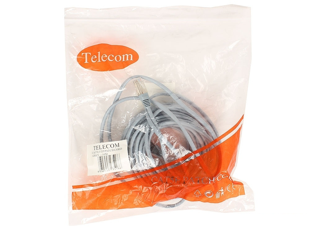 Патчкорд литой TELECOM FTP кат.5e 10m