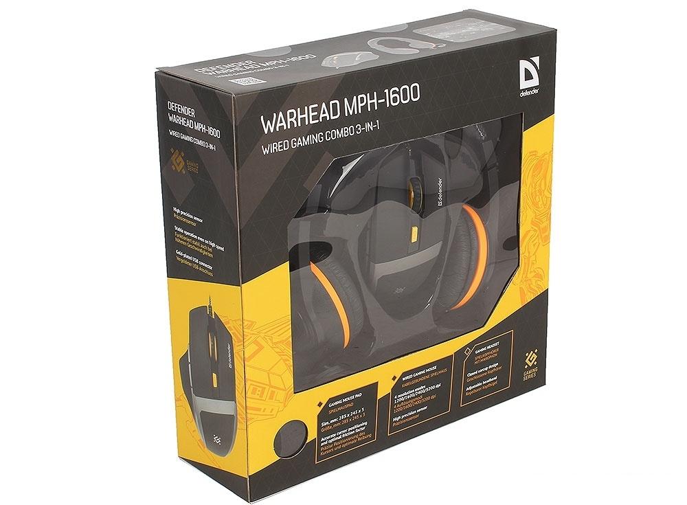 Игровой набор Warhead MPH-1600 черный, мышь + гарнитура + ковер DEFENDER
