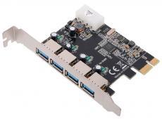 Контроллер PCI-E to USB3.0 Orient VA-3U4PE 4-х портовый хост-адаптер для шины PCI Express, доп.разъём питания, VIA, ret