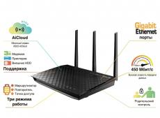 Маршрутизатор ASUS RT-N66U 802.11n Двухдиапазонный 2.4/5 ГГц (до 900Мбит/с) Гигабитный WiFi роутер, 2xUSB2.0,  поддержка 3G/4G модемов