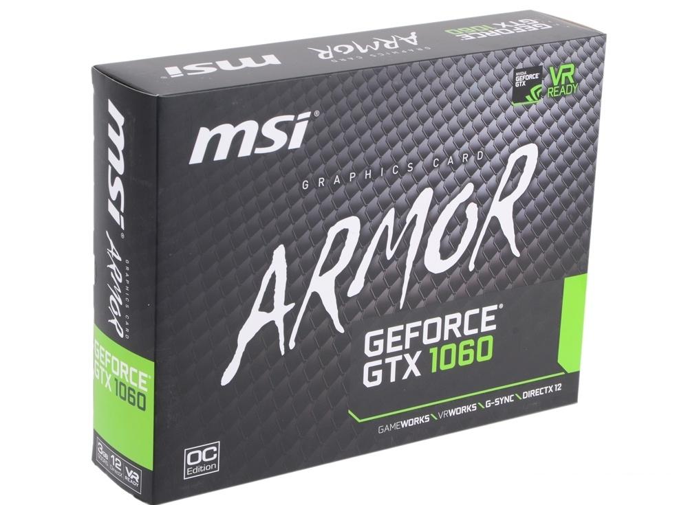 Видеокарта 3Gb (PCI-E) MSI GeForce GTX 1060 ARMOR 3G OCV1 (GTX1060, GDDR5, 192bit, HDCP, DVI, 2*HDMI, 2*DP, Retail)