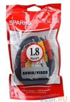 кабель 3xrca/3xrca 1.8м belsis sn1015 sparks nickel, audio/video