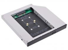 адаптер оптибей espada ms12 (optibay, hdd caddy) msata ssd to minisata 12,7мм для подключения ssd к ноутбуку вместо dvd