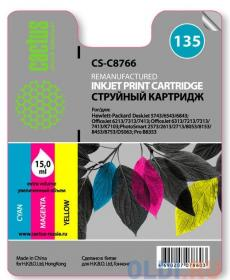 Картридж Cactus CS-C8766   №135  (трехцветный) для HP DeskJet 5743/6543/6843, OfficeJet 6213/7313/7413, OfficeJet 6313/7213/7313/7413/K7103; PhotoSmar