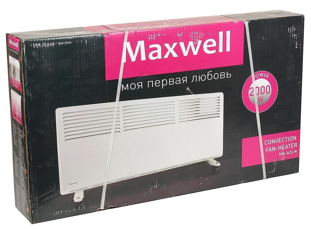 Конвектор Maxwell MW-3474 (W) (мощность  2000 Вт.3-позиционный регулятор мощности - 800/1200/2000 Вт.Площадь обогрева до 25 кв. м.220-240 В, ~50 Гц)