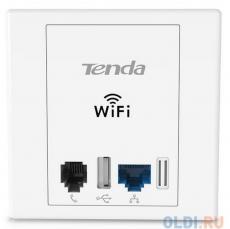 Точка доступа Tenda W6 Точка доступа встраиваемая в стену 802.11bgn 300Mbps 2.4 ГГц 1xLAN  1xUSB