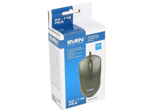 Мышь SVEN RX-112 PS/2 чёрная, 2+1 клавиши, симметричная форма, коробка цвет