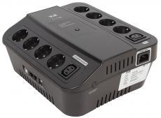 ИБП 3Cott 3C-500-SPB, 500 ВА / 300 Вт, линейно-интерактивный, управляемый, 3-х ступенчатый AVR, выходы: 8 евро-розетки + 2 IEC